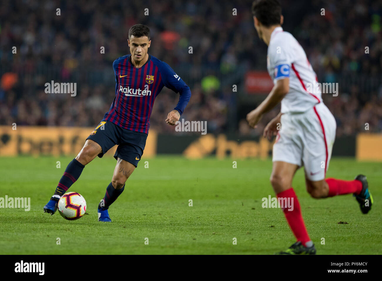 October 20th; Coutinho of FC Barcelona in action during the 2018/2019 LaLiga Santander Round 8 game between FC Barcelona and Sevilla FC at Camp Nou on - Stock Image