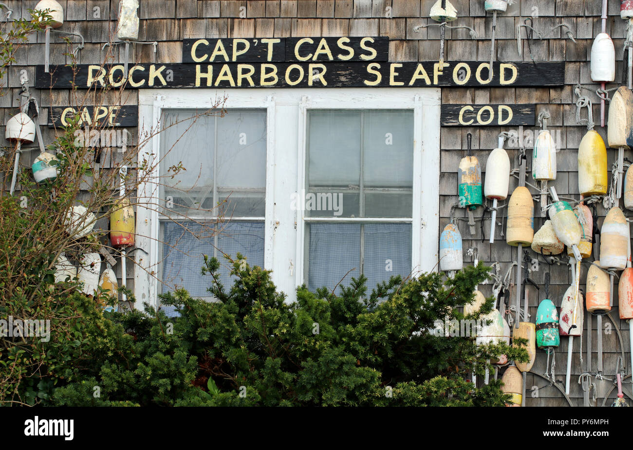 Cap't Cass Rock Harbor Seafood Restaurant, Orleans, Massachusetts Stock Photo