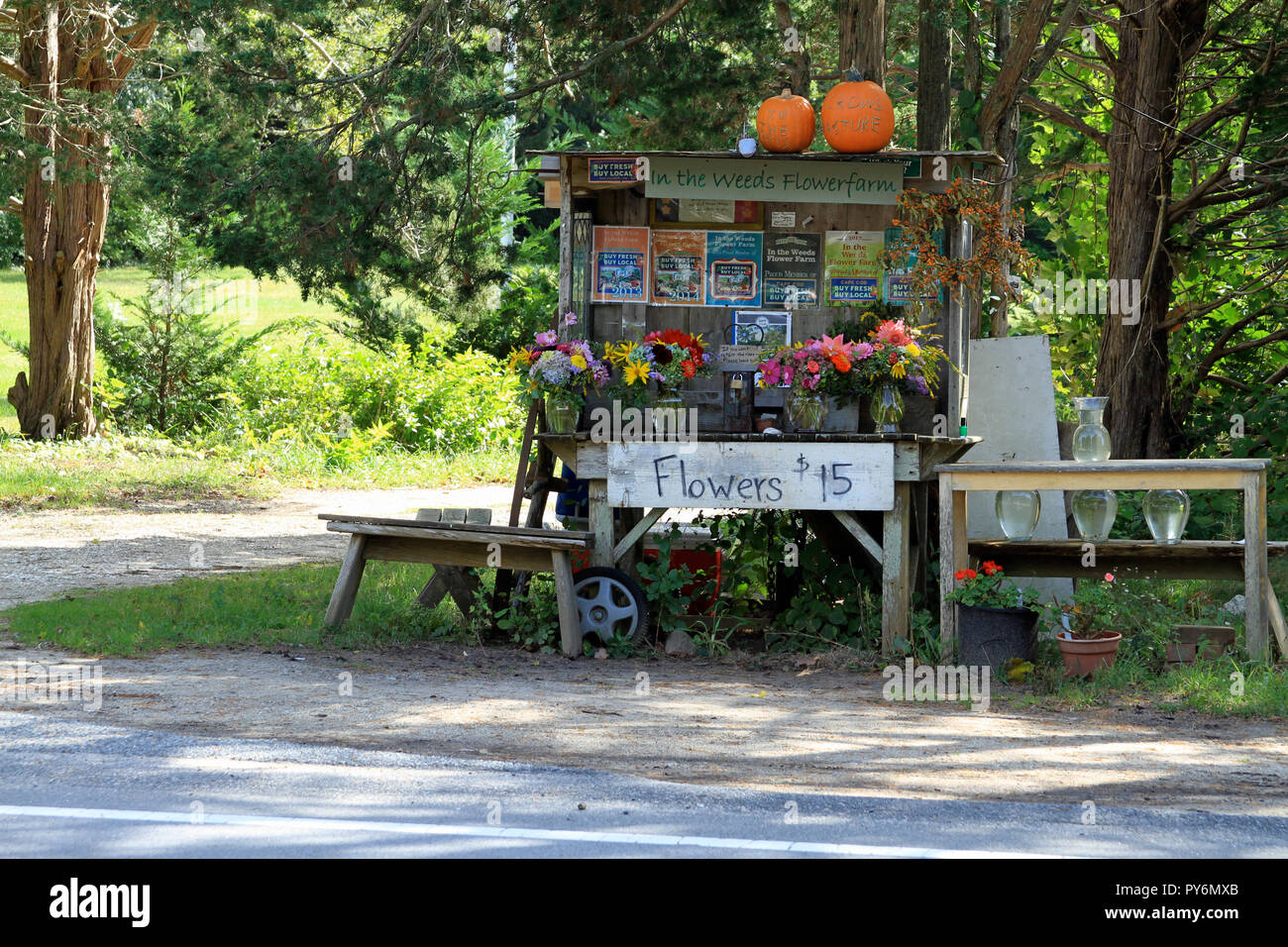 A roadside flower stand on Cape Cod in Brewster, Massachusetts Stock Photo