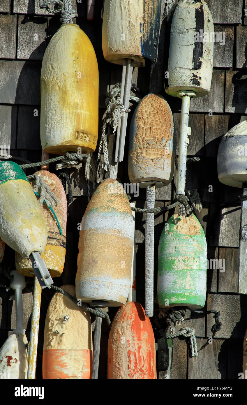 Wooden lobster buoys Stock Photo