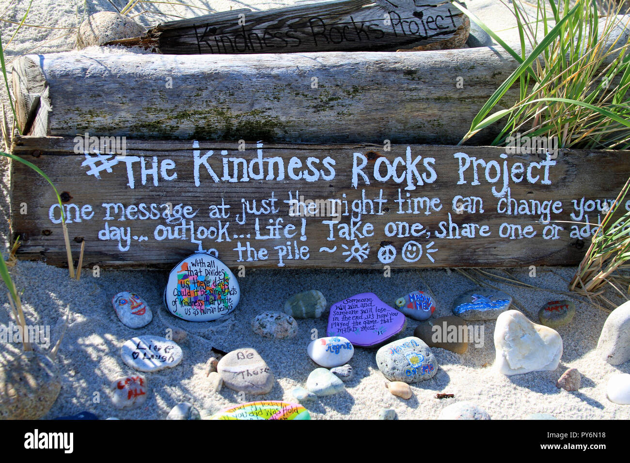 The Kindness Rocks Project at Sandy Neck Beach in Sandwich, Massachusetts Stock Photo
