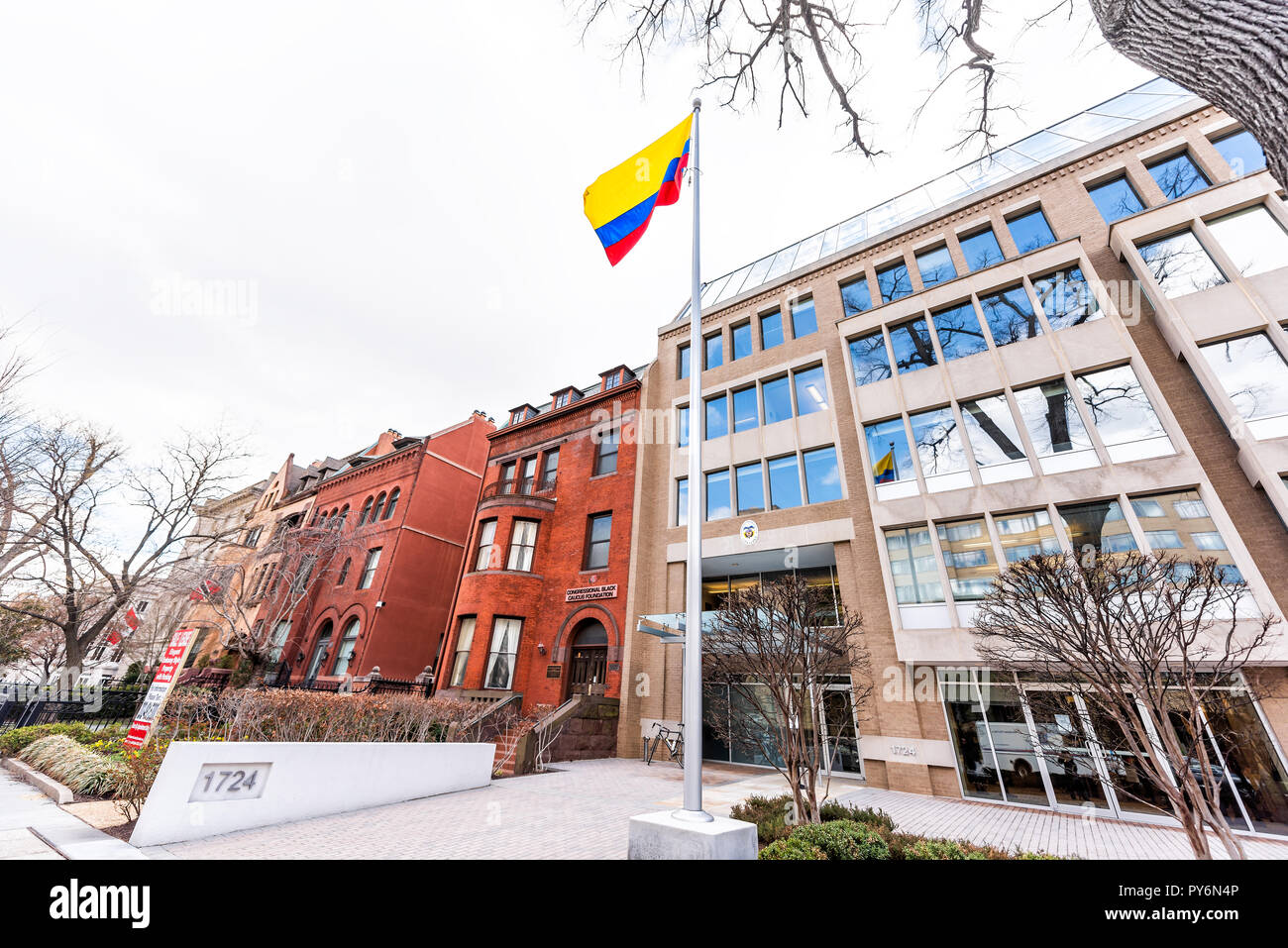 Washington DC, USA - March 9, 2018: Republic of Colombia embassy, colorful flag by entrance in capital city, nobody, exterior, Congressional Black Cau - Stock Image