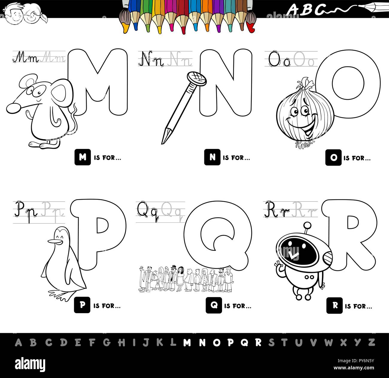 Black and White Cartoon Illustration of Capital Letters Alphabet Educational  Set for Reading and Writing Learning for Children from M to R Color Book 9e2e7ea4c