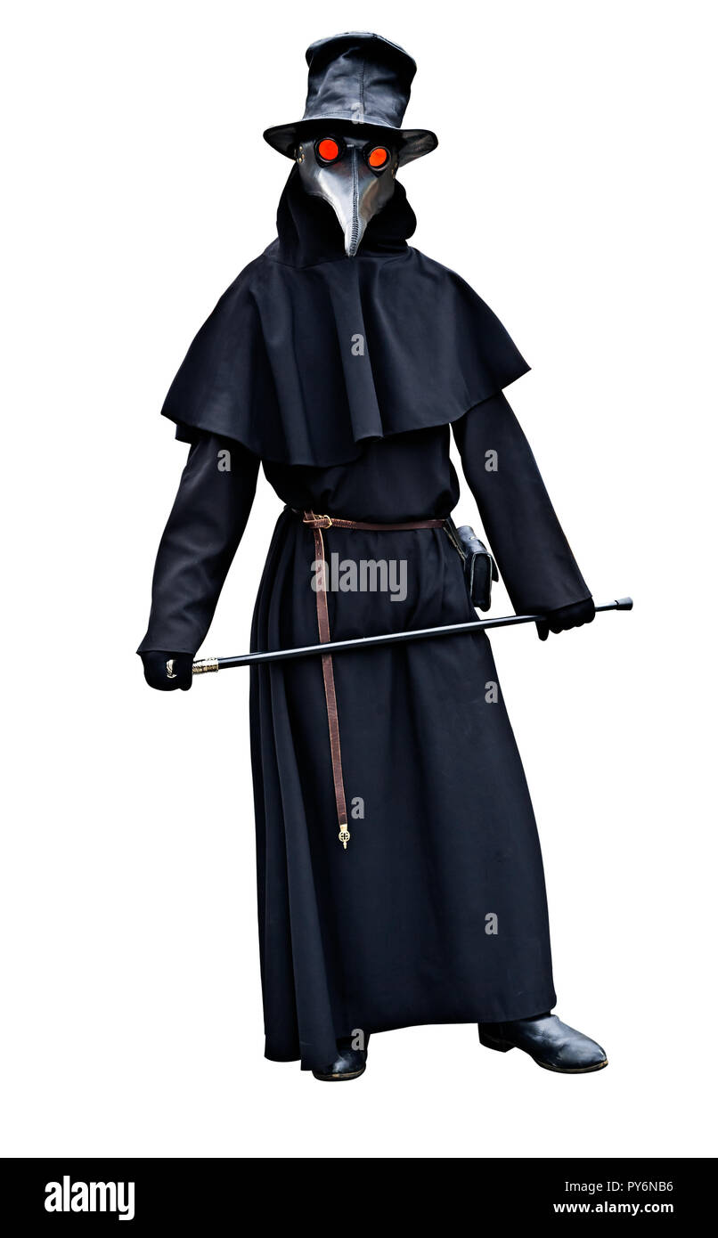 Plague Doctor Black Costume With A Cane Isolated Background Stock