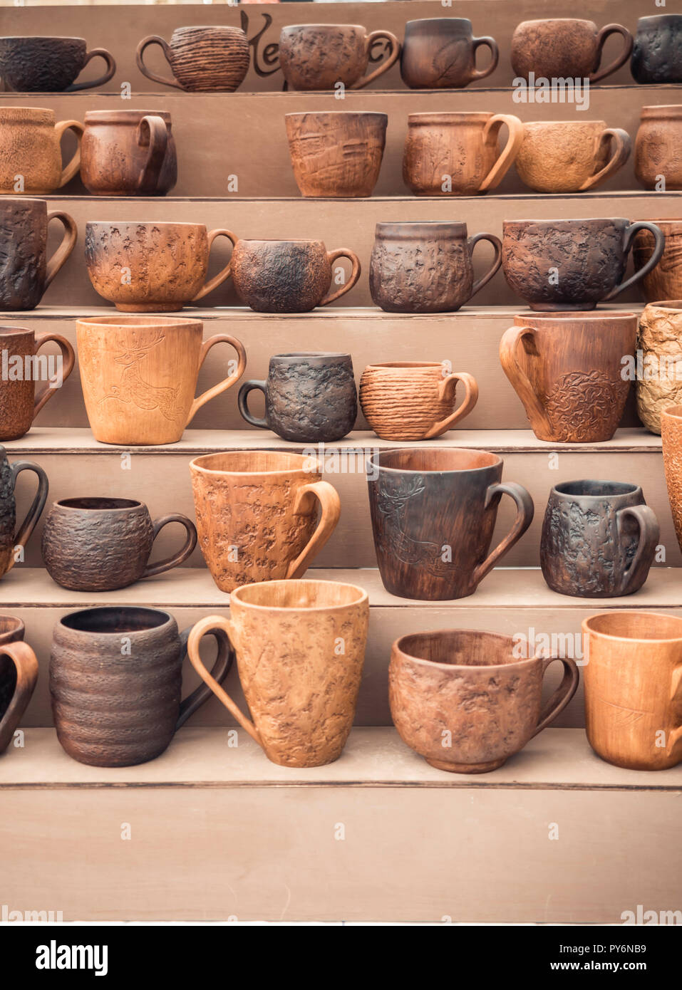 Handmade Clay Mugs Stands On The Counter Eco Friendly Cookware Pottery Cups Sale Stock Photo Alamy