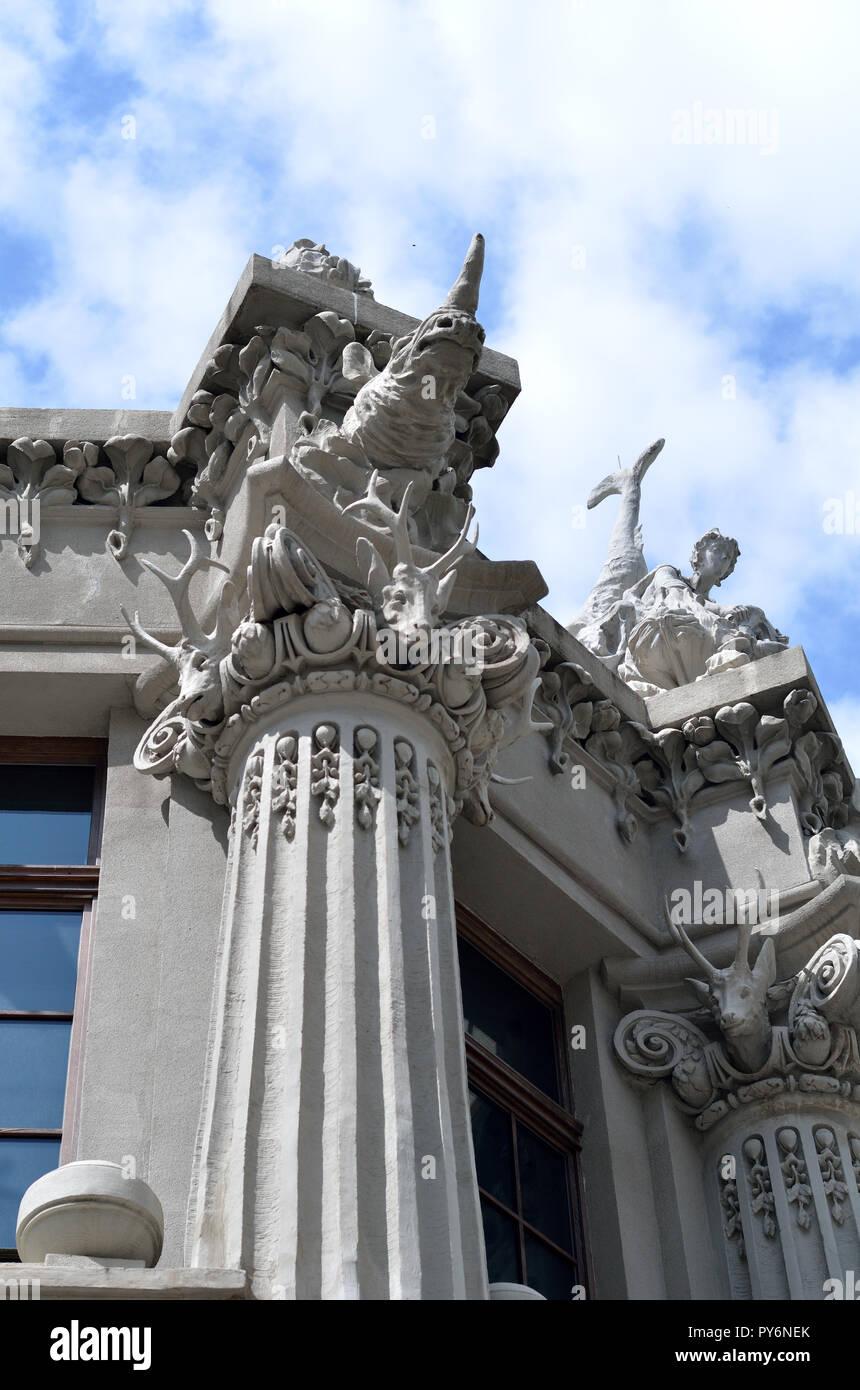Sculptures on House of chimeras, art noveau style, Kiev, Ukraine, - Stock Image