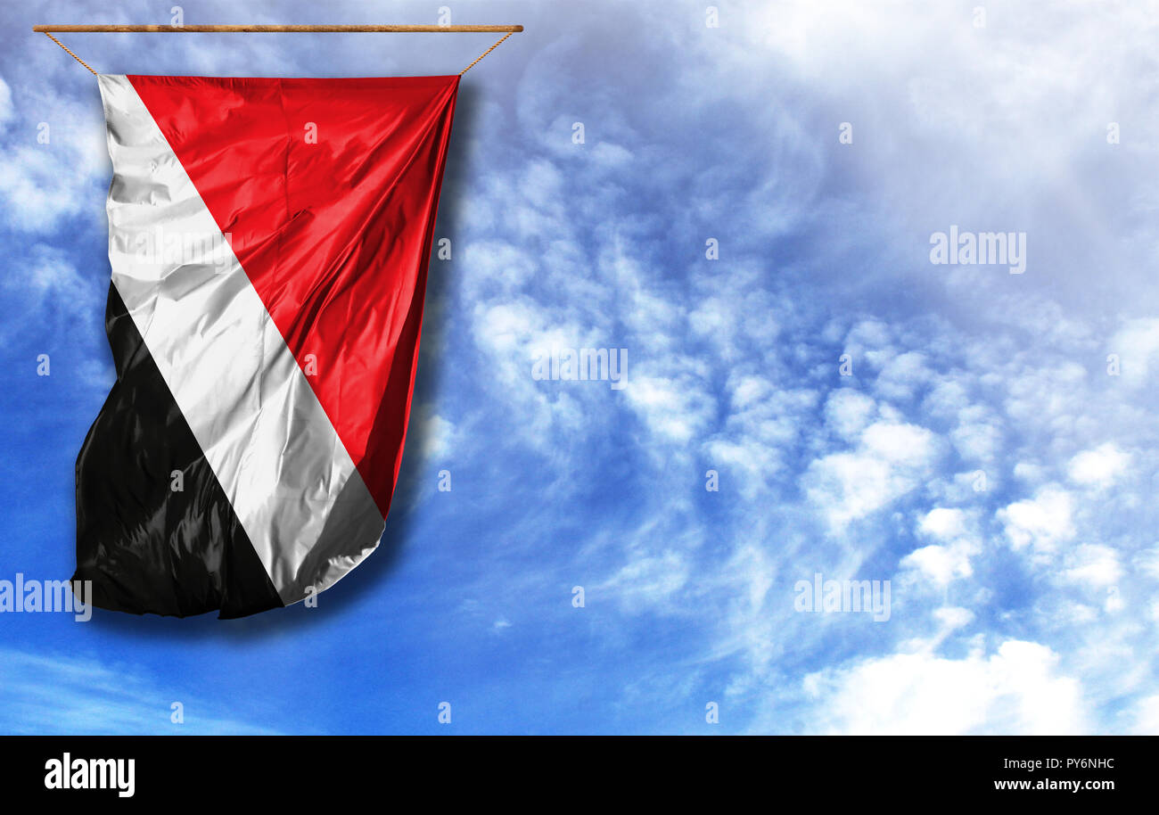 Flag of Sealand,Principality of. Vertical flag, against blue sky with place for your text - Stock Image
