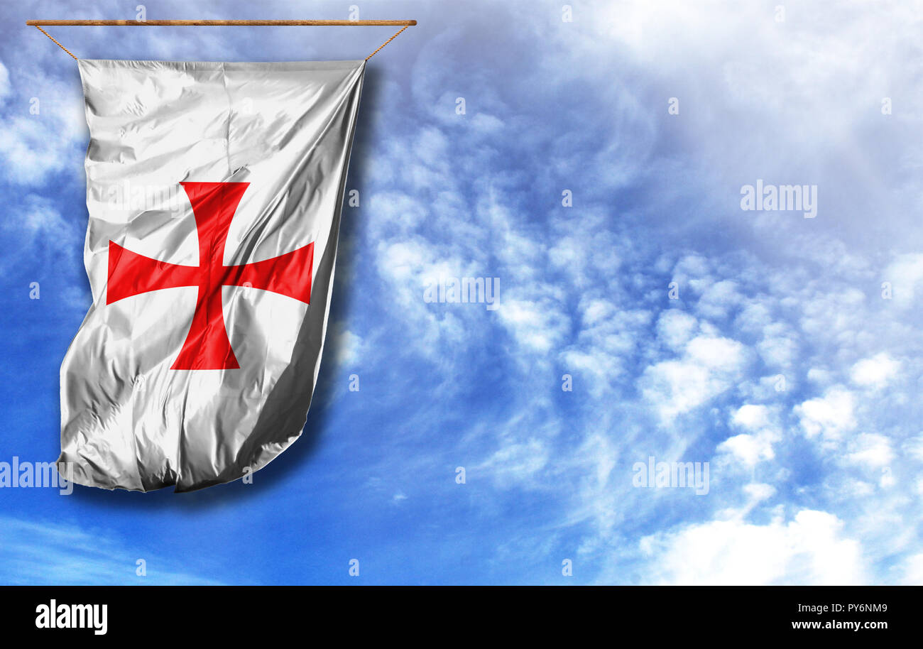 Flag of templiers. Vertical flag, against blue sky with place for your text - Stock Image