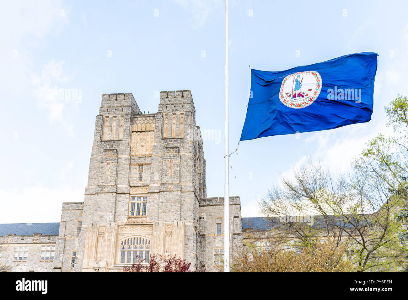 Blacksburg, USA - April 19, 2018: Historic Virginia Tech Polytechnic Institute and State University College campus with Burruss hall facade exterior i - Stock Image