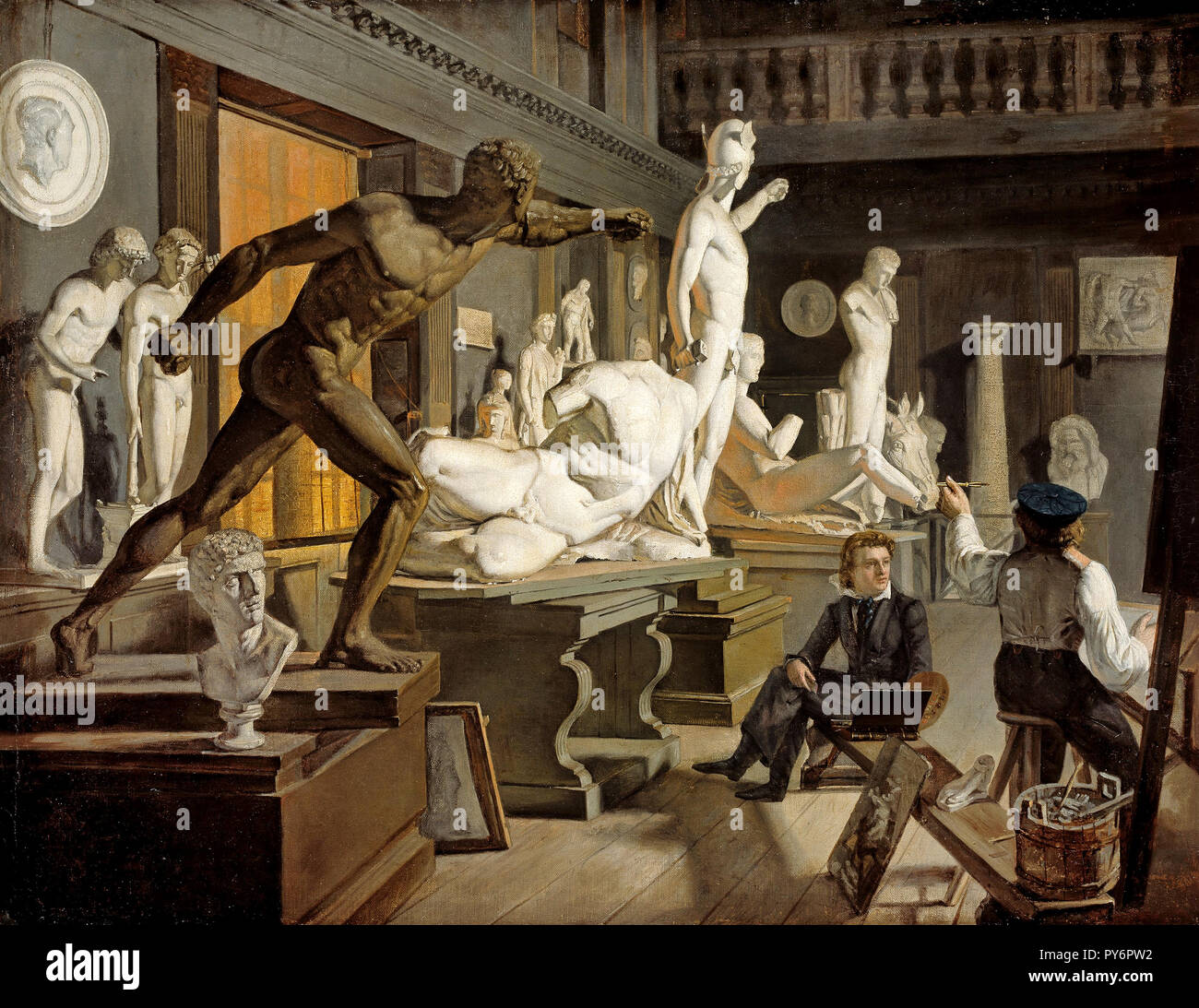 Knud Baade, Scene from the Academy in Copenhagen, Circa 1827-1828 Oil on canvas, National Gallery of Norway, Oslo, Norway. - Stock Image