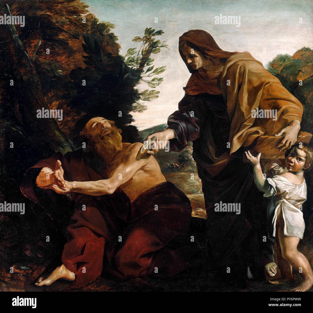 Giovanni Lanfranco, Elijah Receiving Bread from the Widow of Zarephath, Circa 1621-1624 Oil on canvas, The J. Paul Getty Museum, Los Angeles, USA. - Stock Image