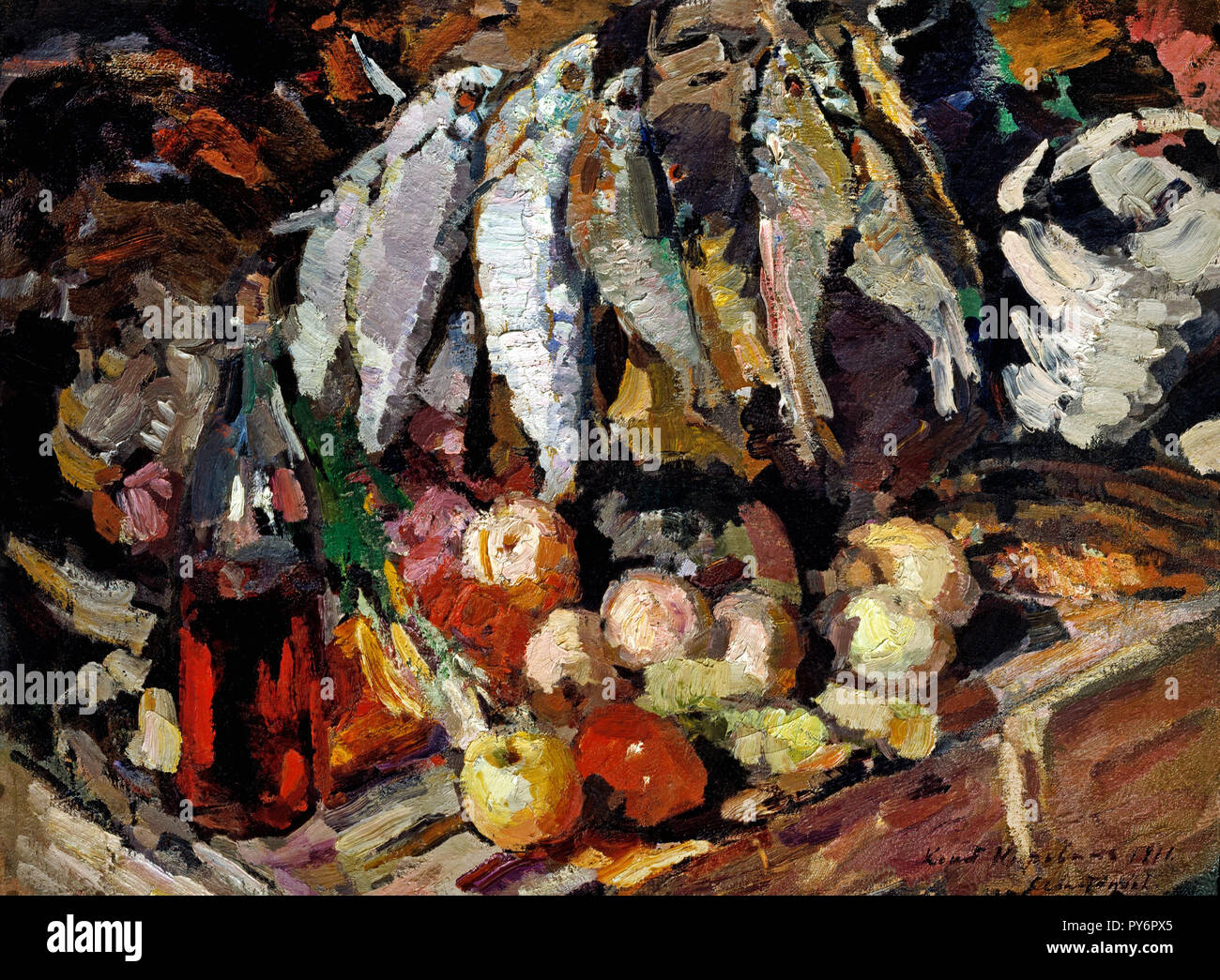 Konstantin Korovin, Fish, Wine, Fruit 1916 Oil on canvas, Tretyakov Gallery, Moscow, Russia. - Stock Image