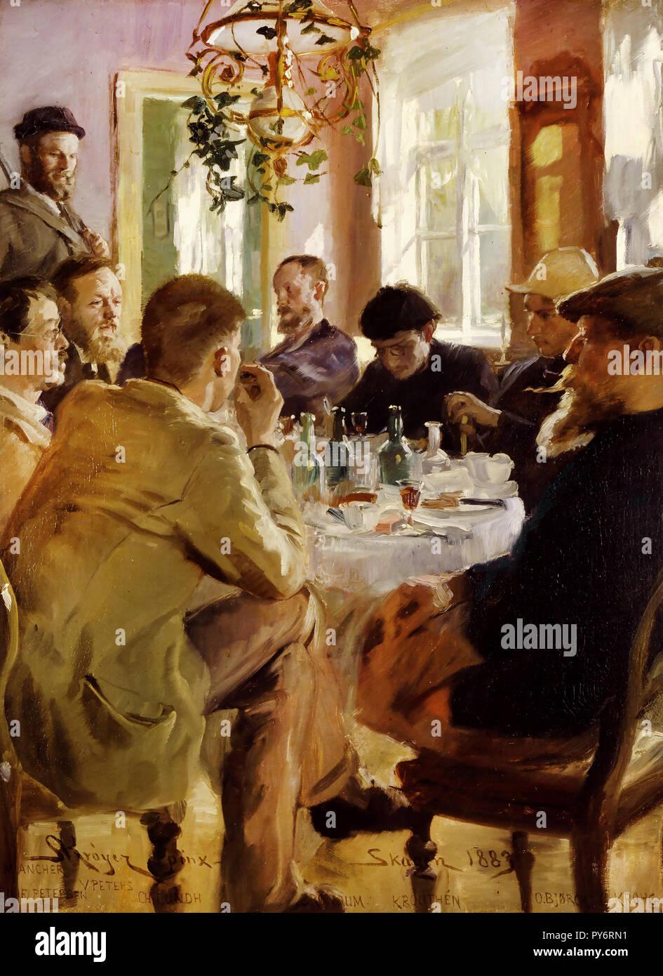 Peder Severin Kroyer, Artists' Luncheon at Brondum's Hotel 1883 Oil on canvas, Skagens Museum, Skagen, Denmark. - Stock Image