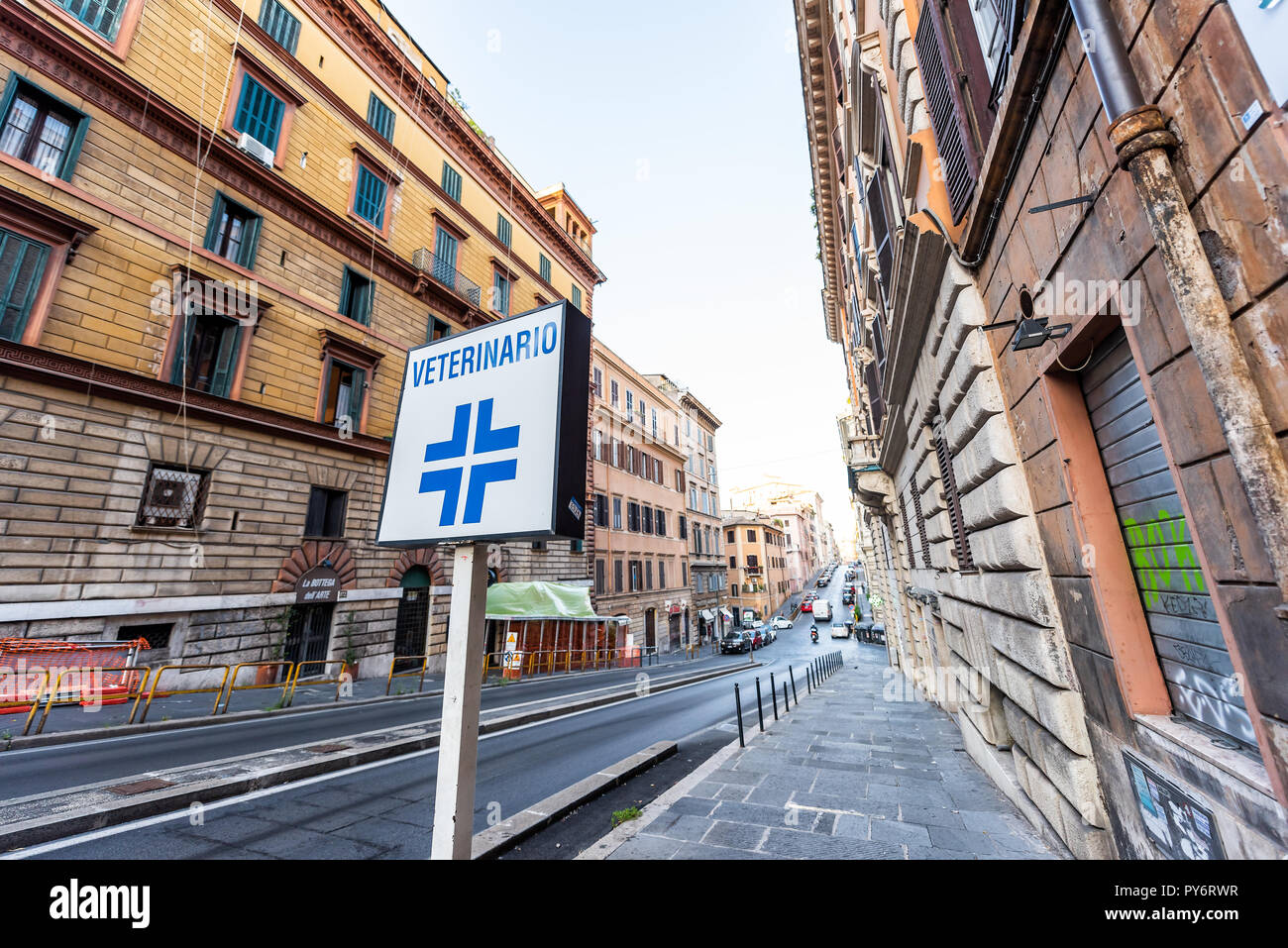 Rome, Italy - September 5, 2018: Italian street outside in city morning, wide angle empty road, nobody, closeup of Veterinarian veterinario sign, in M - Stock Image