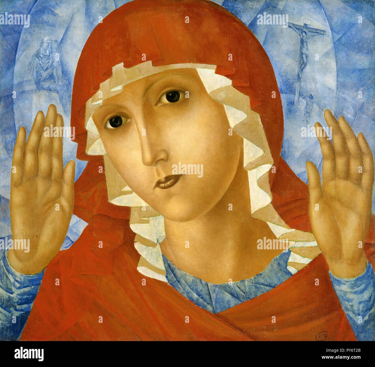 Kuzma Petrov-Vodkin, The Mother of God of Tenderness Towards Evil Hearts 1914 Oil on canvas, Russian Museum, Saint Petersburg, Russia. - Stock Image
