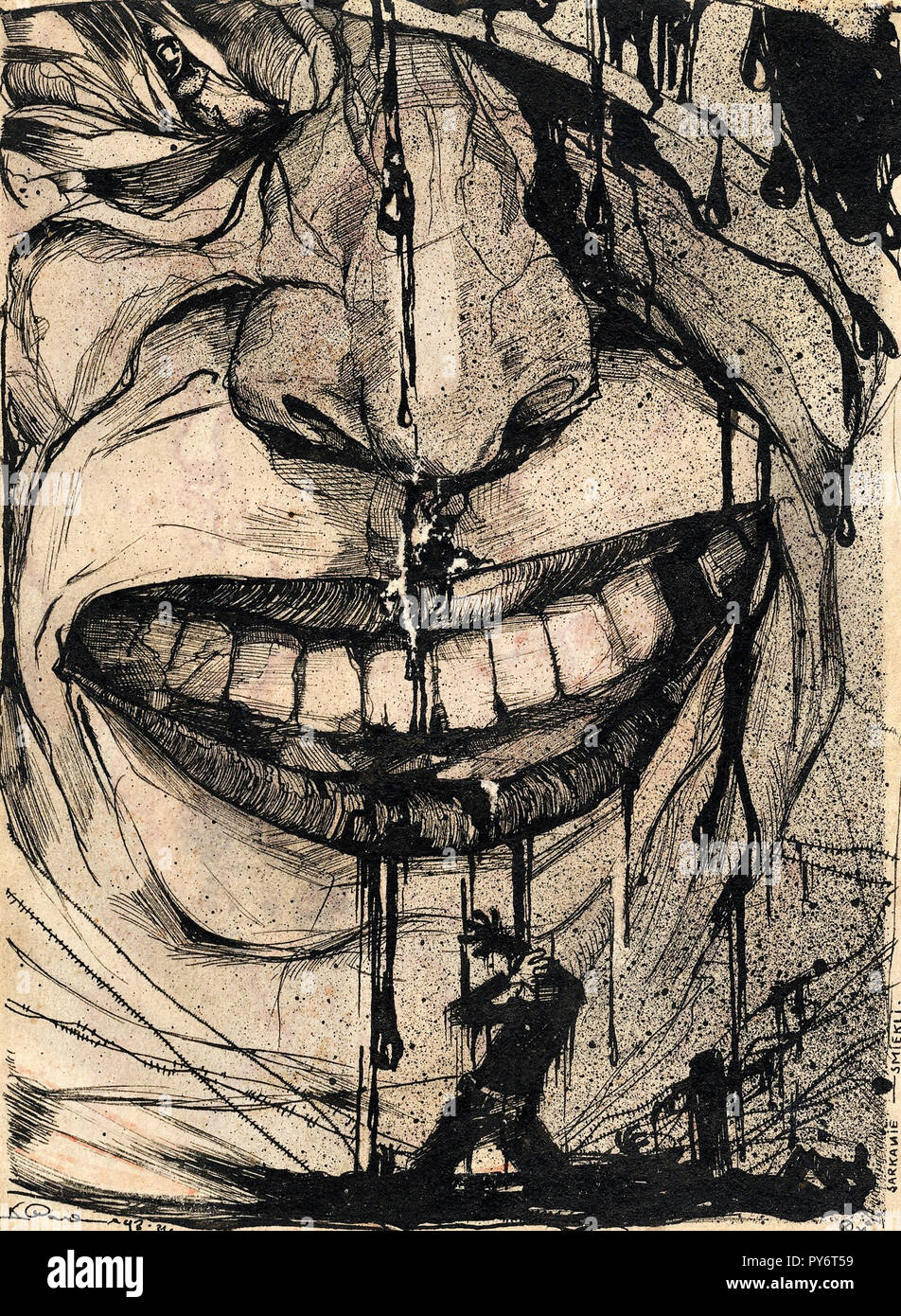 Karlis Padegs, Red Laughter 1931 Etching, Latvian Museum of Foreign Art, Riga, Latvia. - Stock Image
