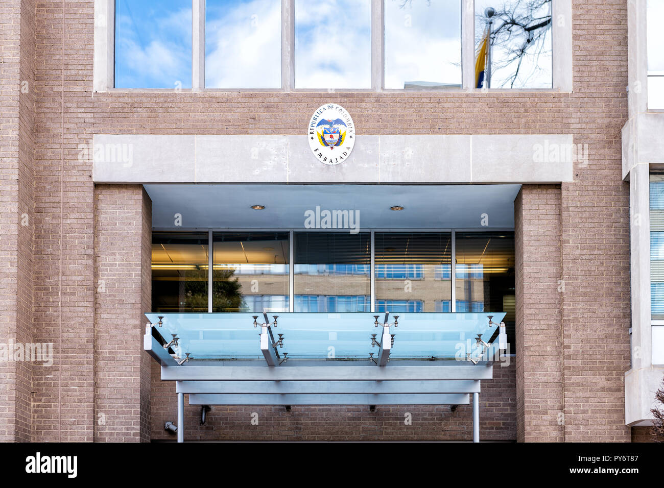 Washington DC, USA - March 9, 2018: Republic of Colombia embassy and consulate sign entrance building in capital city, nobody, exterior - Stock Image