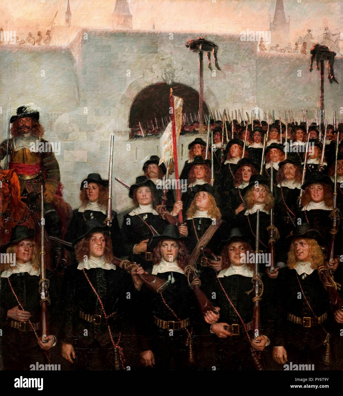 Kristian Zahrtmann, Students Leave to Defend Copenhagen in 1658, 1888 Oil on canvas, The Hirschsprung Collection. Stock Photo
