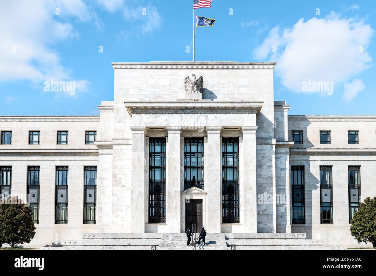 Washington DC, USA - March 9, 2018: Federal Reserve bank
