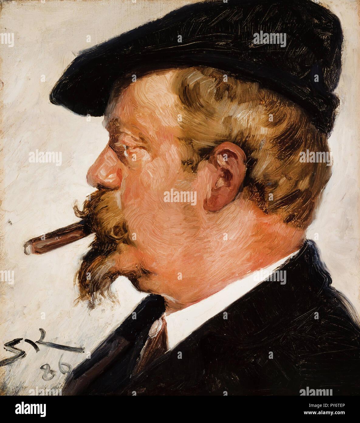 Peder Severin Kroyer, Portrait of Vilhelm Rosenstand 1886 Oil on canvas, Skagens Museum, Skagen, Denmark. - Stock Image