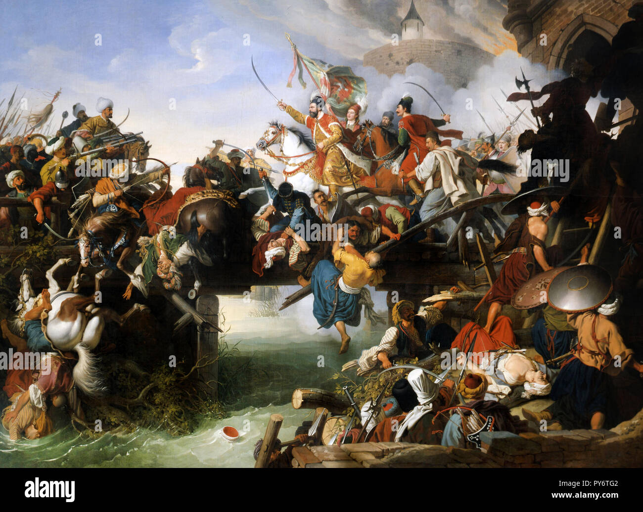 Peter Krafft, Zrínyi's Charge From the Fortress of Szigetvar 1825 Oil on canvas, Hungarian National Gallery, Budapest, Budapest. Stock Photo
