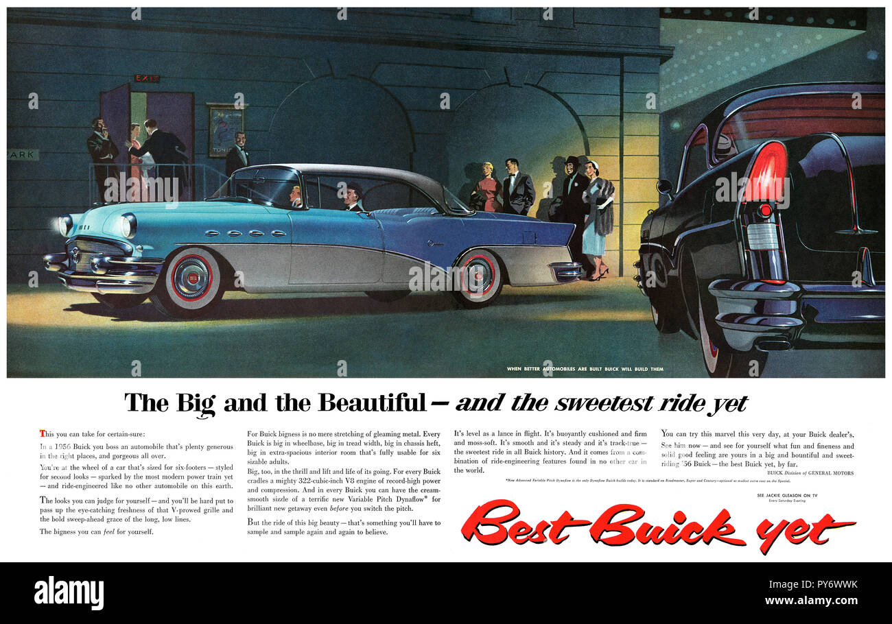 1956 U.S. advertisement for Buick automobiles. - Stock Image