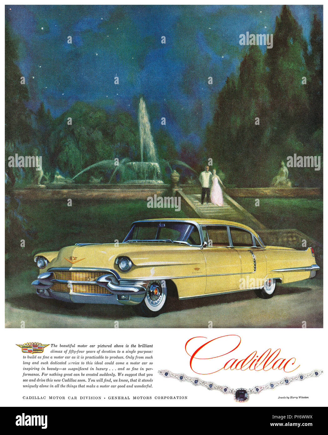 1956 U.S. advertisement for Cadillac automobiles. - Stock Image