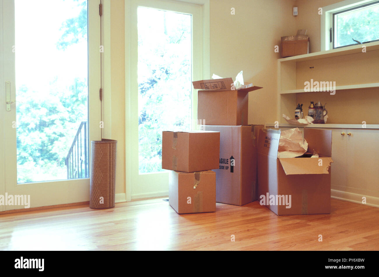 Cardboard packing boxes in suburban home on moving day, USA - Stock Image