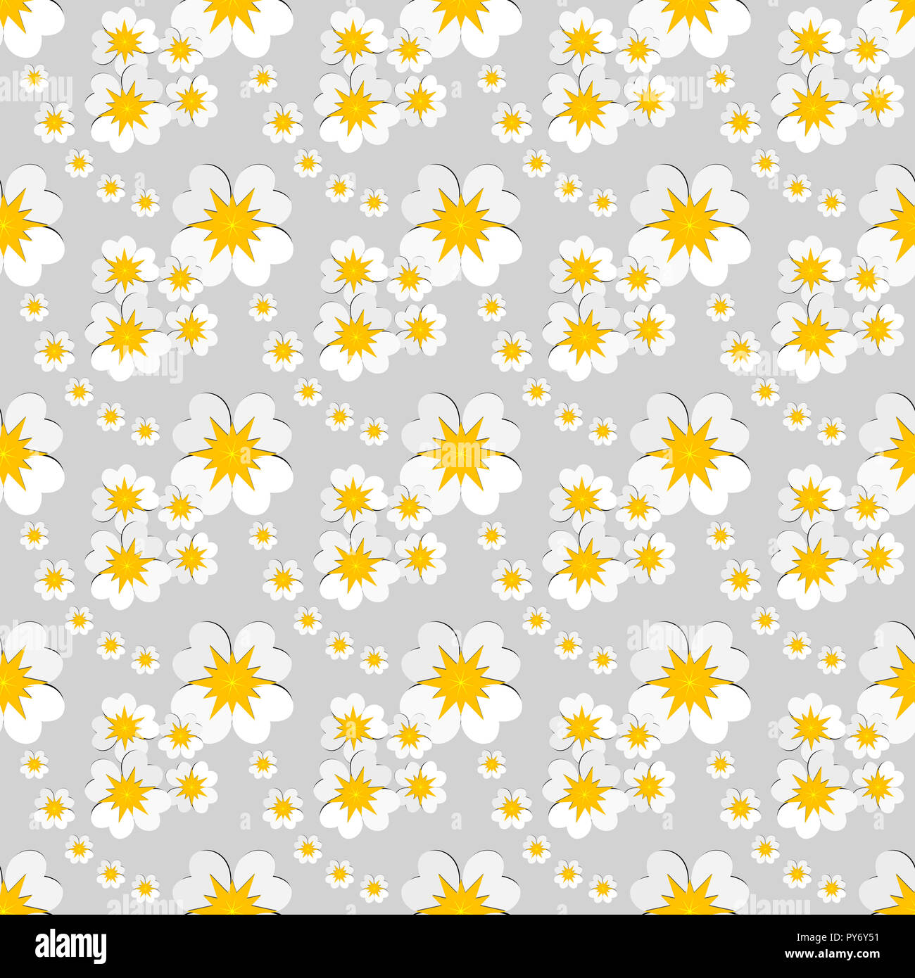 Seamless Floral Pattern Of White Flowers With Yellow Pollen