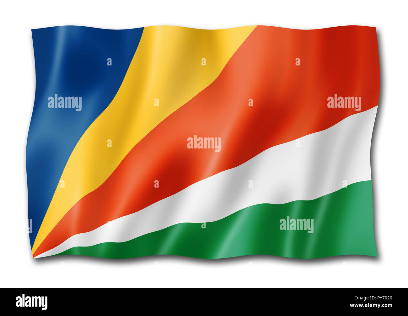 Seychelles flag, three dimensional render, isolated on white - Stock Image