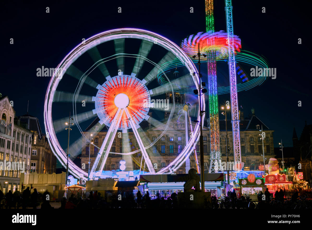 Funfair on Dam Square, Amsterdam, Netherlands Stock Photo