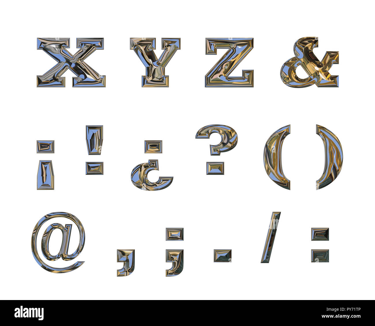 Capital letters X, Y, Z, and orthographic signs, made with liquid chrome effect - Stock Image