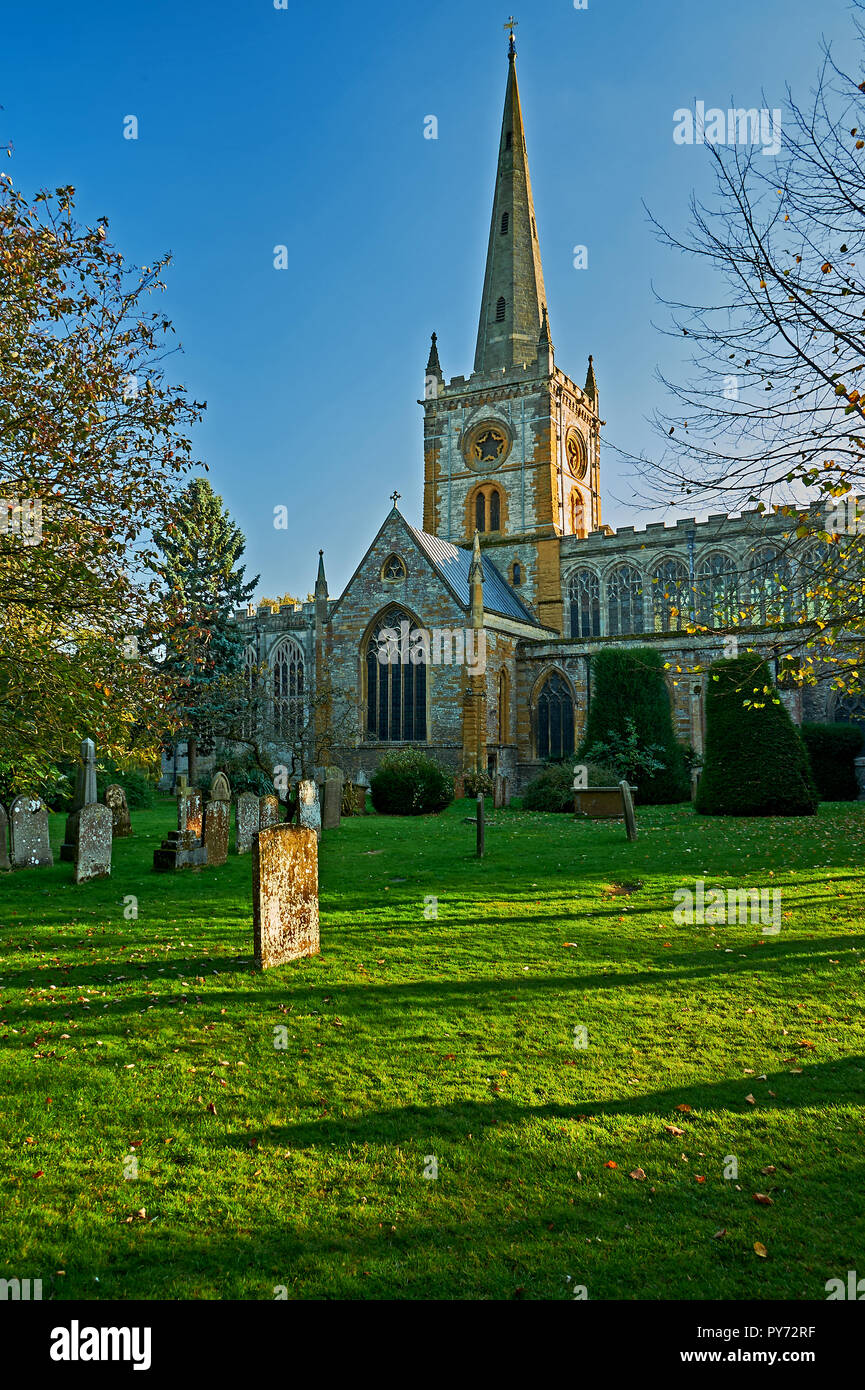 Holy Trinity church, burial place of William Shakespeare, in Stratford upon Avon, Warwickshire. Stock Photo