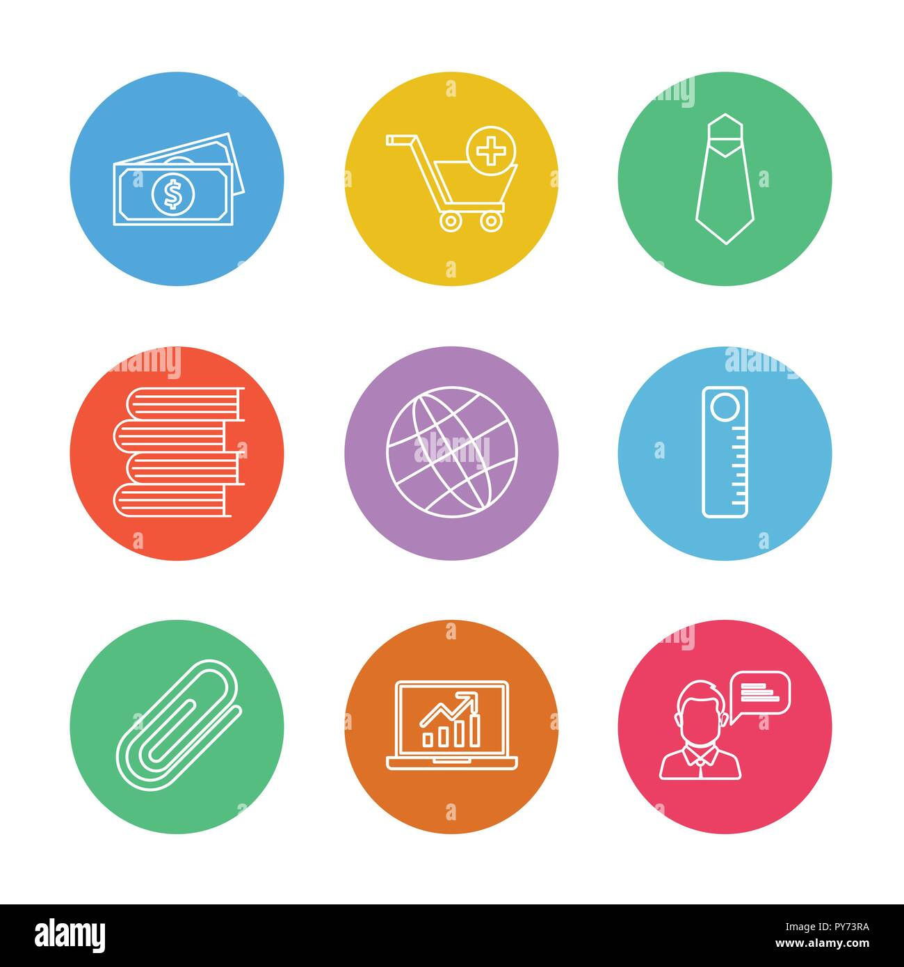 money , cart , tie , books , globe , scale , pin , laptop , icon, vector, design,  flat,  collection, style, creative,  icons Stock Vector