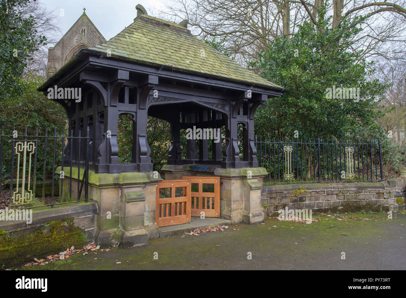 The lych gate of St. Bartholomew's Church in Marsden, West Yorkshire - Stock Image