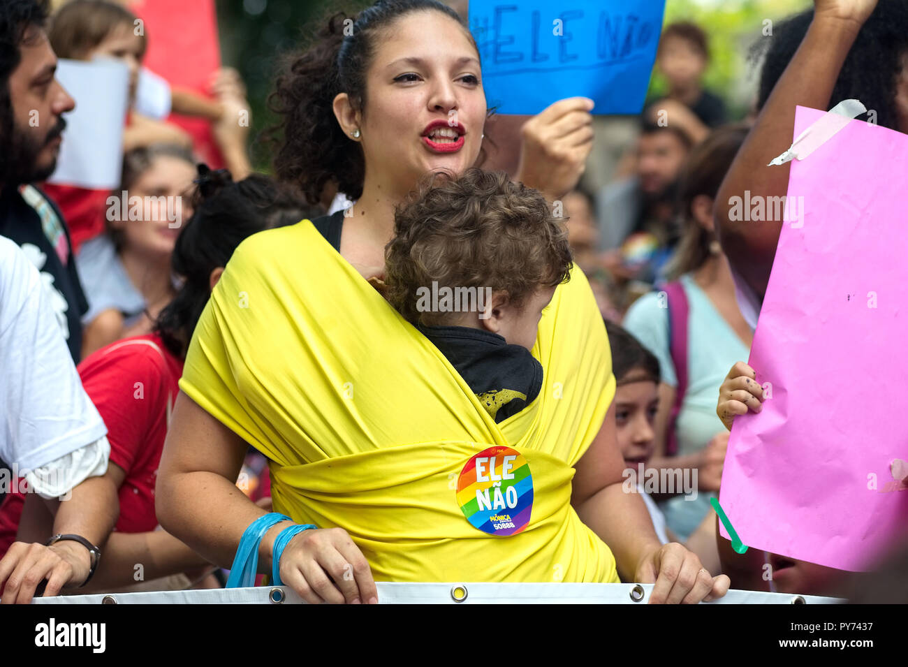 Rio de Janeiro - September 29, 2018: Mothers take to the streets to protest against far-right candidate Bolsonaro a week before the presidential vote - Stock Image