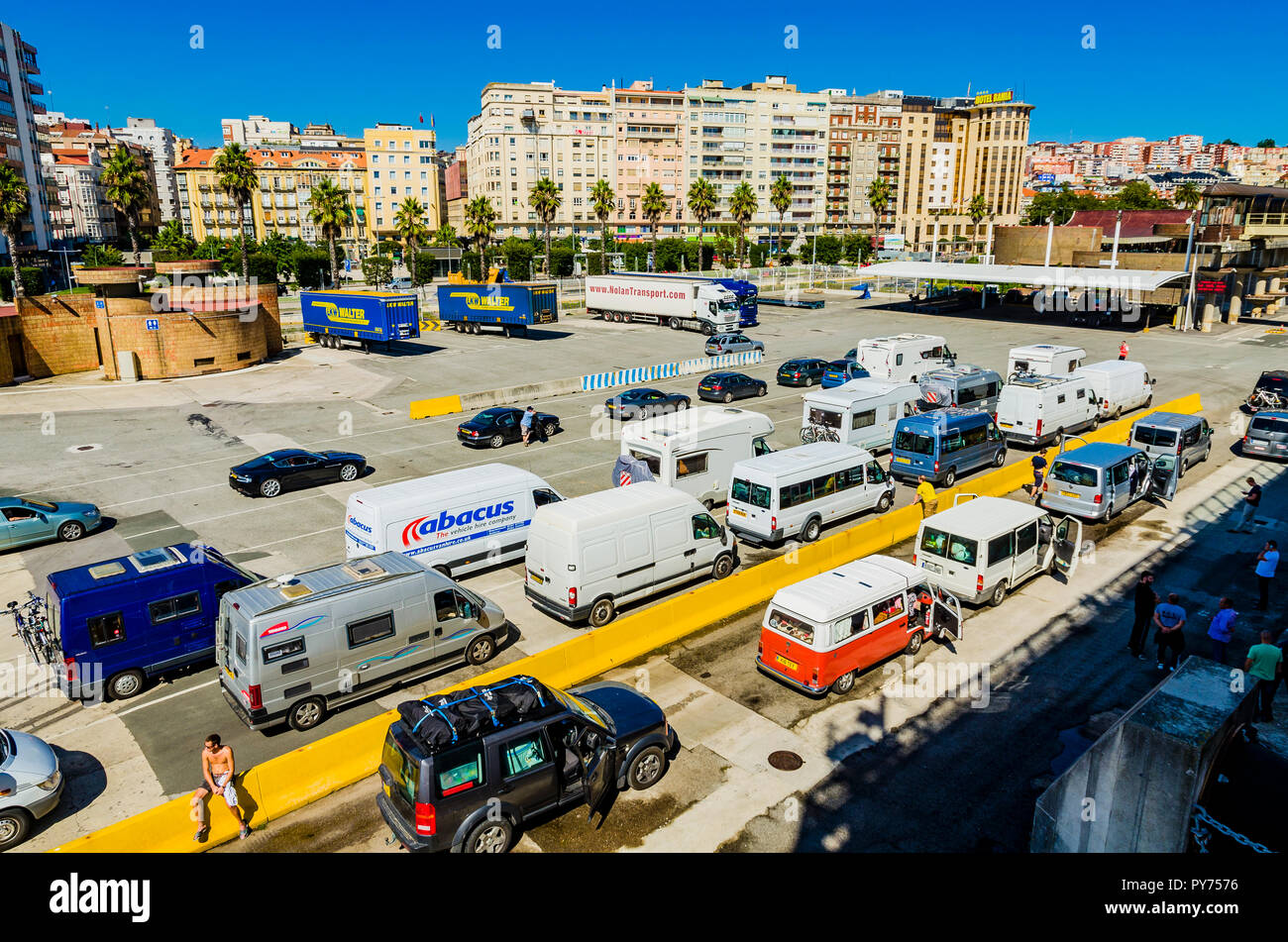 Parking in the port of Santander before boarding a ferry. Santander, Cantabria, Spain, Europe - Stock Image