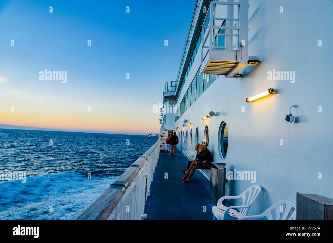 Dusk sailing in the Bay of Biscay. Ferry sailing in direction of Portsmouth, sailing in Bay of Biscay. Brittany Ferries. Europe - Stock Image