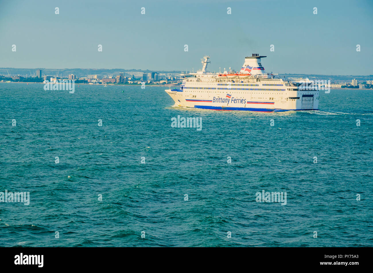 The Bretagne ferry from the Britanny Ferries shipping company, sailing to Portsmouth Harbour.Portsmouth, Hampshire, England, United Kingdom, UK, Europ - Stock Image