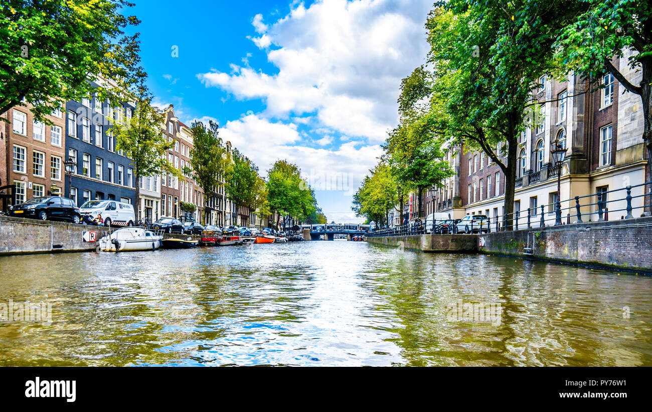The Prinsengracht (Prince Canal) with its many historic houses in the center of the historic city of Amsterdam in the Netherlands - Stock Image