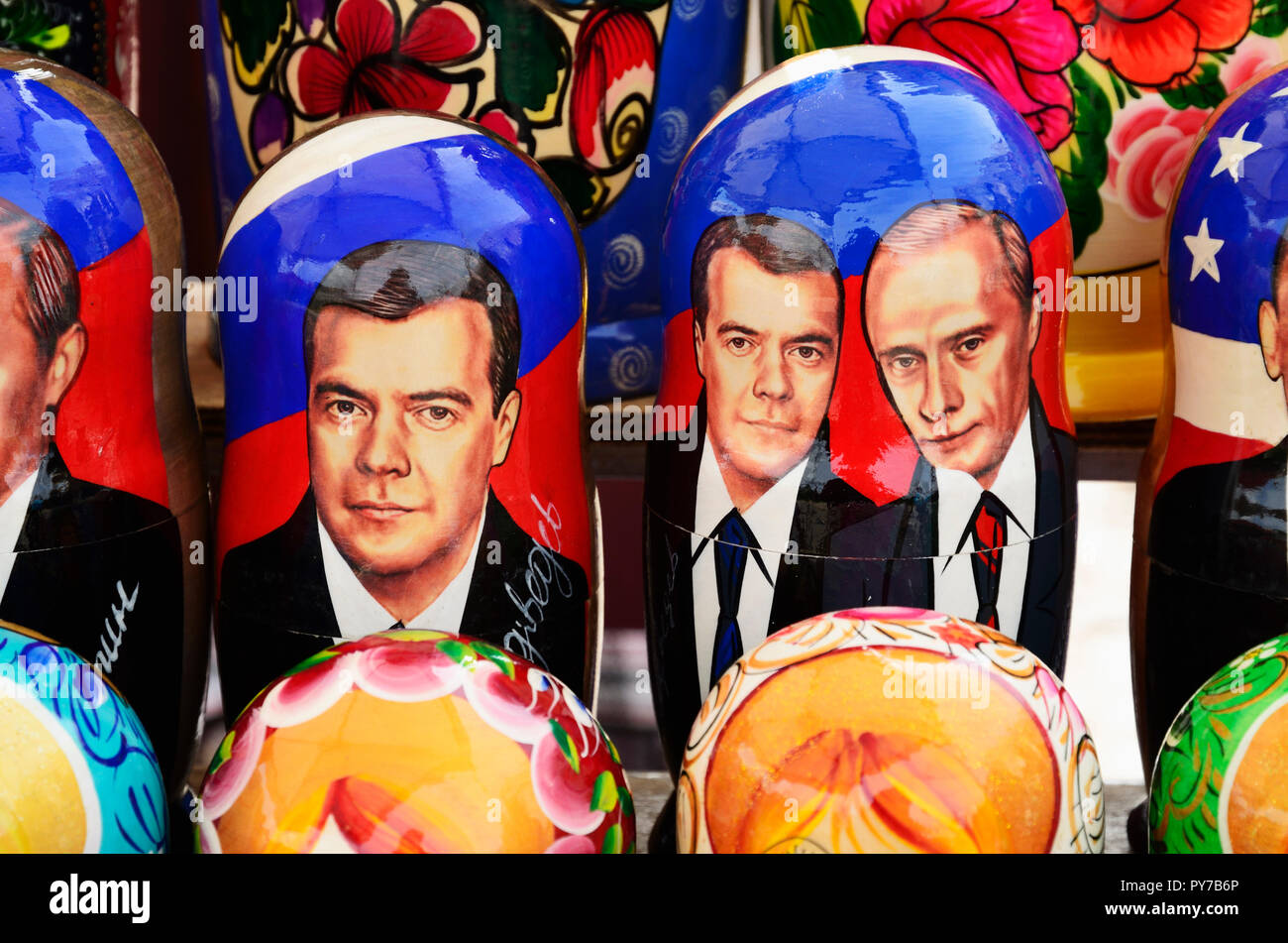 Matryoshka doll with the faces of the heads of state. Soviet memorabilia in a street market. Vyborg, Vyborgsky District, Leningrad Oblast, Russia, Rus - Stock Image