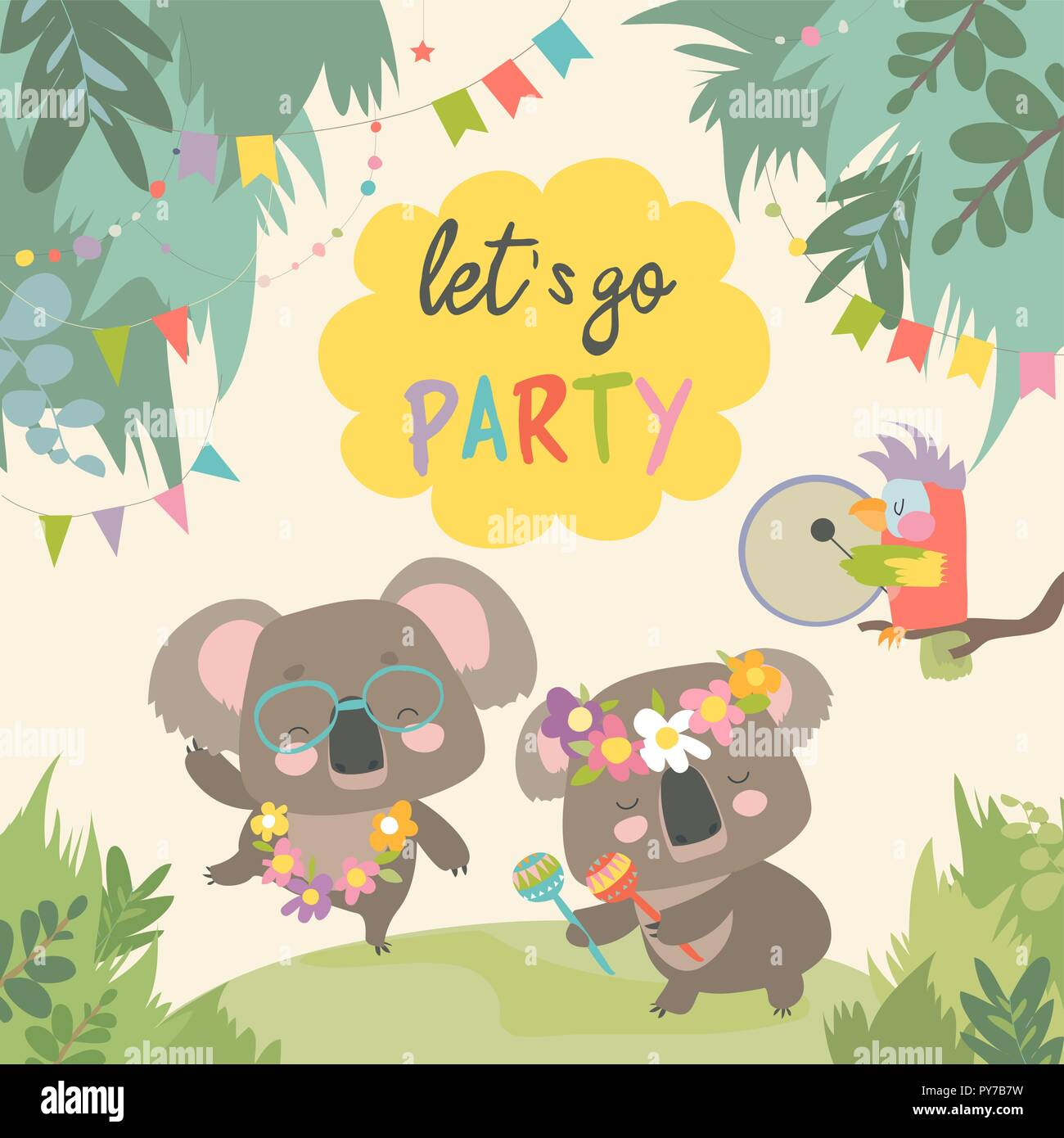 Cute koala dancing with friend on lawn - Stock Vector
