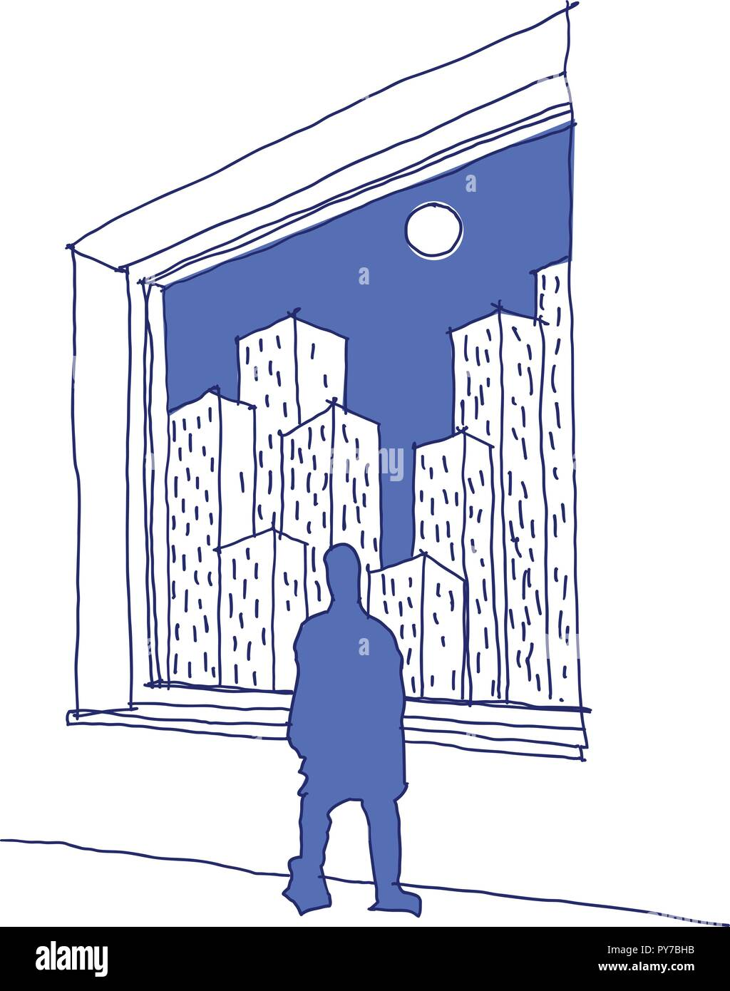 hand drawn sketch of man looking through a window at a city full of skyscrapers with sun on the sky - Stock Vector
