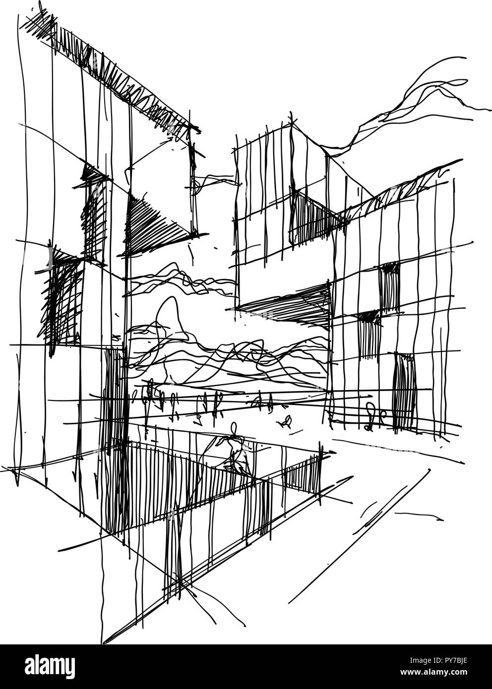 hand drawn architectural sketch of a modern abstract architecture with people around Stock Vector