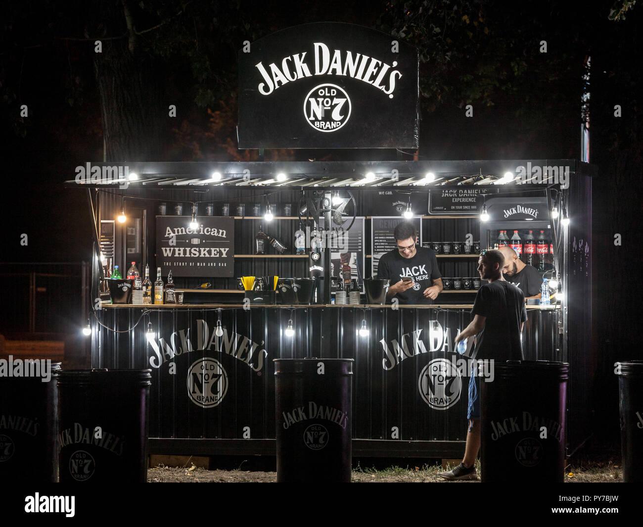 BELGRADE, SERBIA - AUGUST 17, 2018: Jack Daniel's logo on the terrace of a sponsored bar in Belgrade. Jack Daniel's is an American Whiskey Distillery  - Stock Image