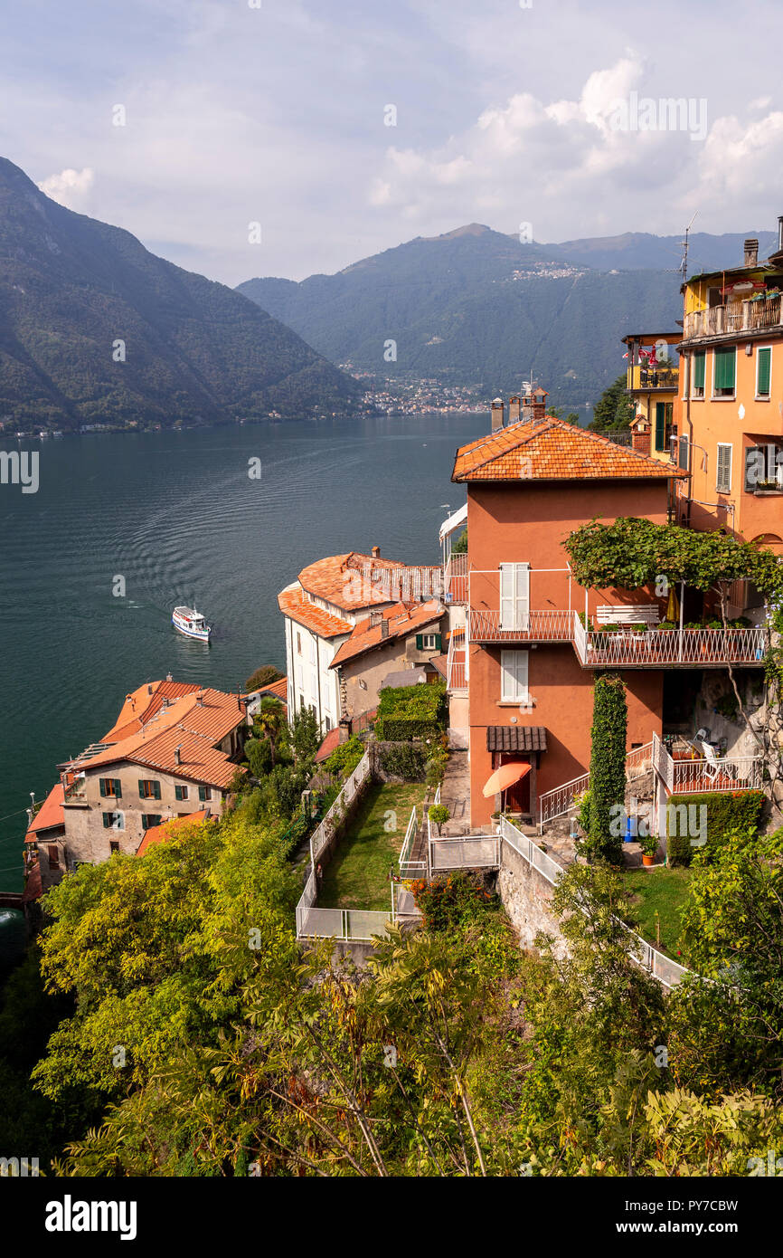 The town of Nesso above Lake Como in the Italian mountains Stock Photo