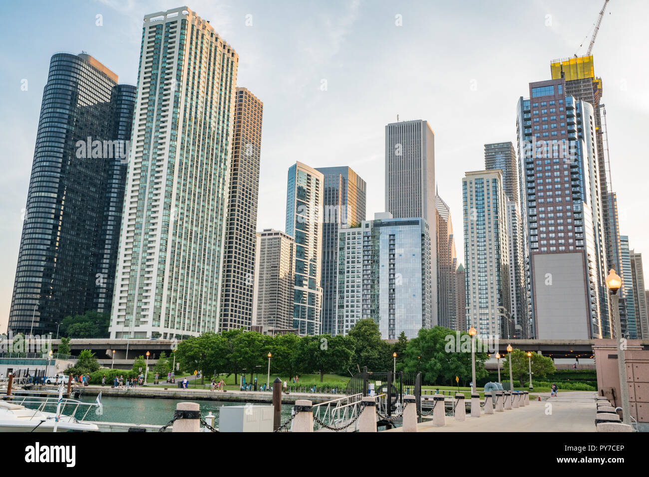 CHICAGO, IL - JULY 12, 2018: Downtown Chicago along Lake Michigan near DuSable Harbor. - Stock Image