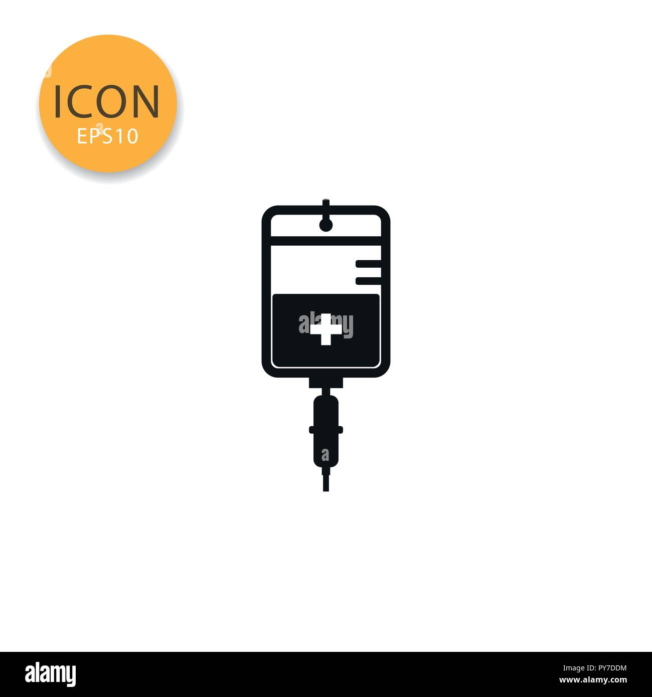 IV bag icon flat style in black color vector illustration on white background. - Stock Vector