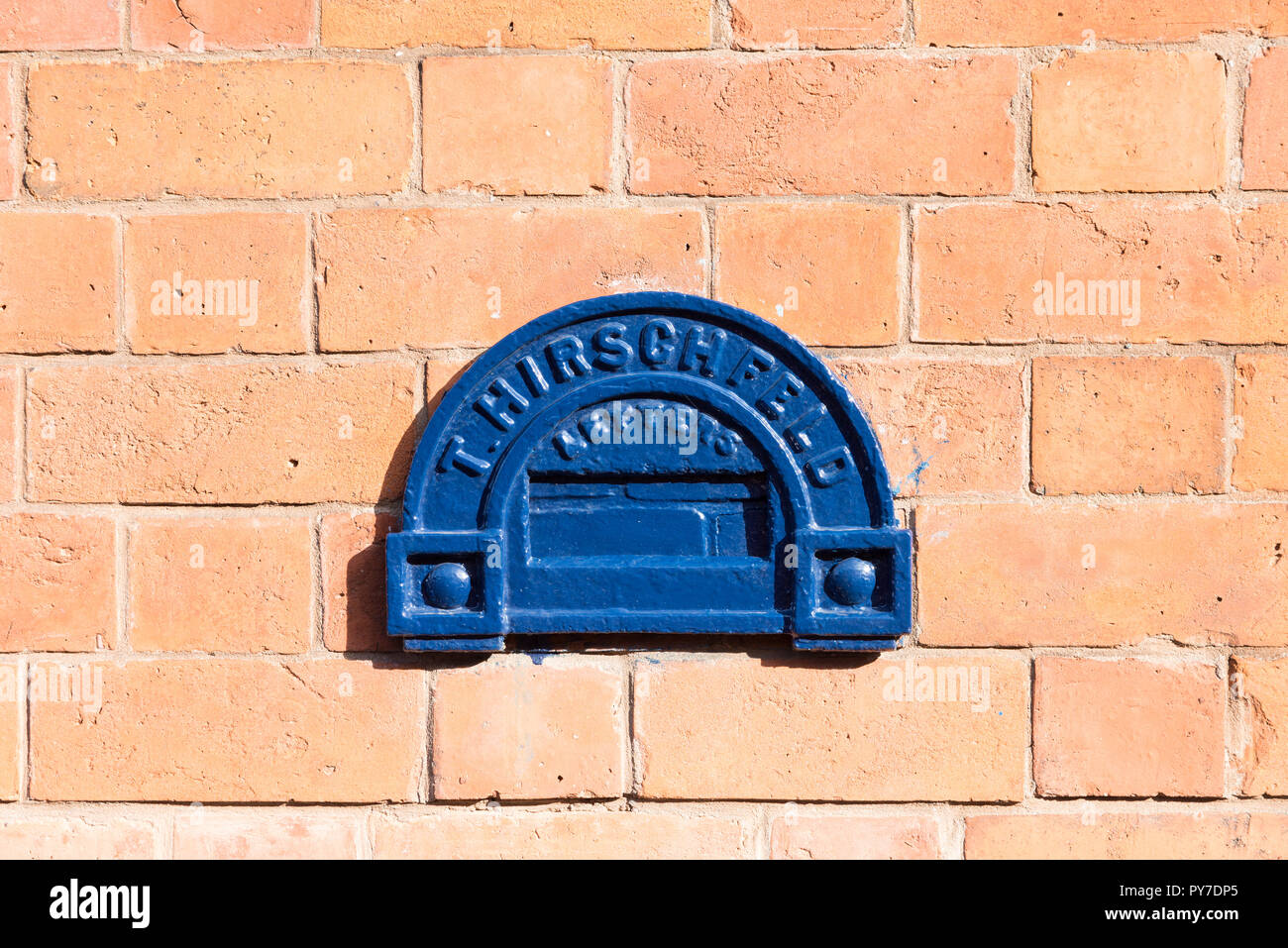 One of the distinctive Georgian letterboxes made for jewellers in Birmingham's Jewellery Quarter as secure portals for precious metal and stones - Stock Image