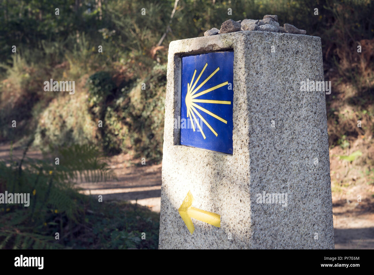 Camino de Santiago milestone with blurred path. Way of St. James signs Stock Photo
